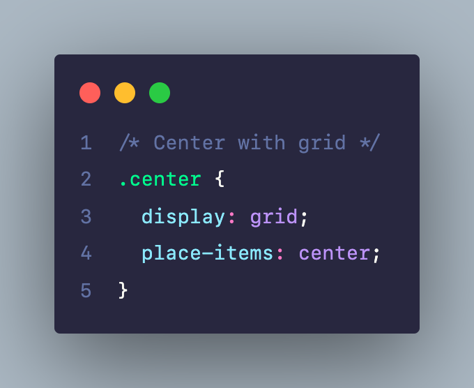 Center với CSS Grid