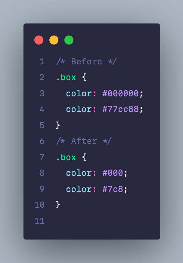 Viết rút gọn code CSS cho giá trị về màu sắc