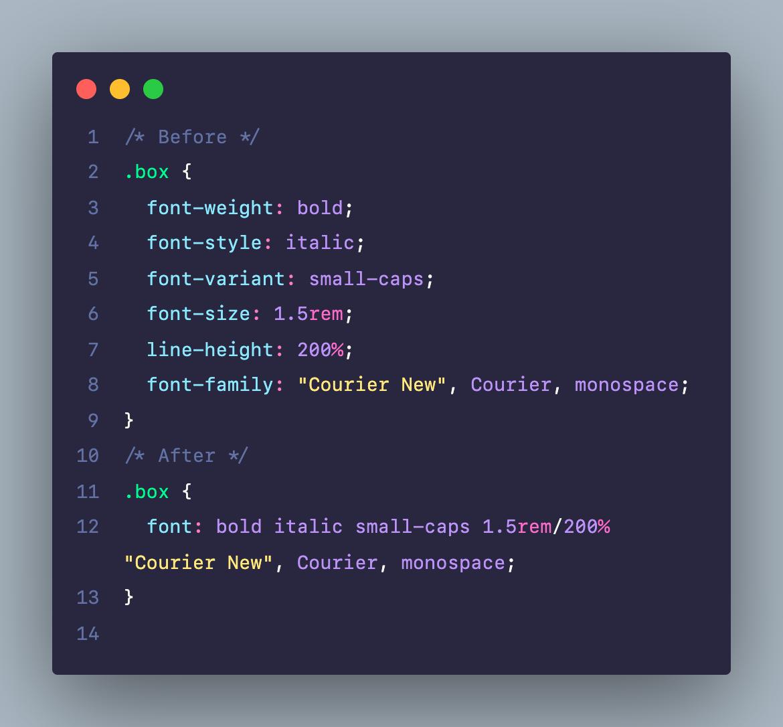 Viết rút gọn code CSS cho thuộc tính về font